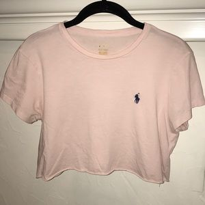 Baby pink Polo crop top